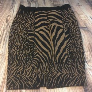 Tracy Reese Double Zip Zebra Animal Print Skirt